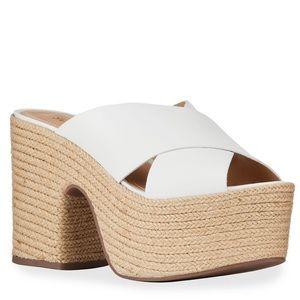 {Schutz} Lora Crisscross Leather Platform Sandals